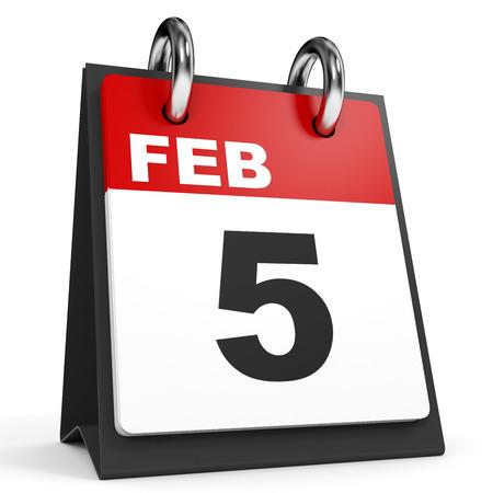 february: February 5. Calendar on white background. 3D illustration.