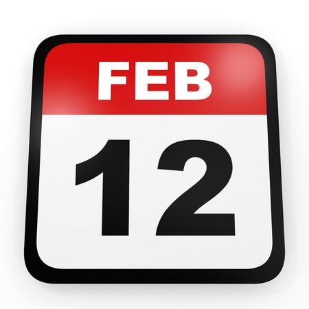 12: February 12. Calendar on white background. 3D illustration.