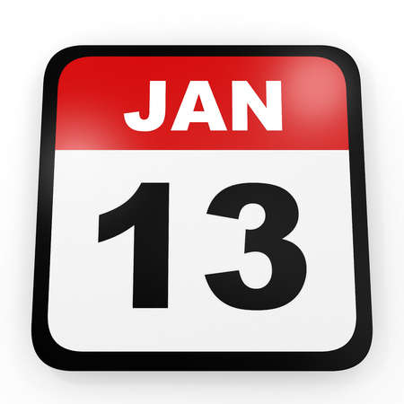 13th: January 13. Calendar on white background. 3D illustration. Stock Photo