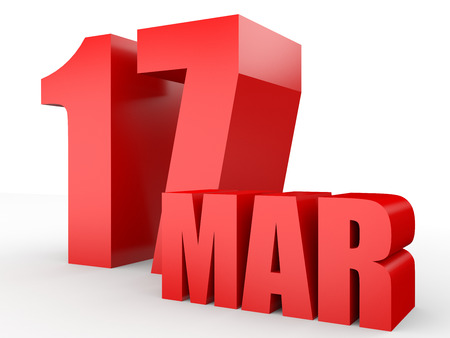 March 17. Text on white background. 3d illustration. Stock Photo