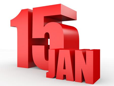 January 15. Text on white background. 3d illustration. Stock Photo