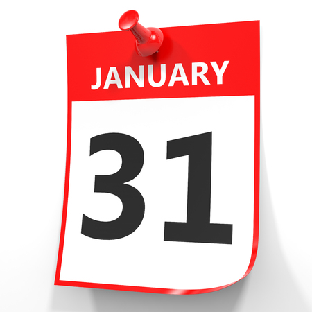 January 31. Calendar on white background. 3D illustration.