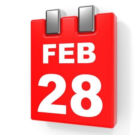 February 28. Calendar on white background. 3D illustration.