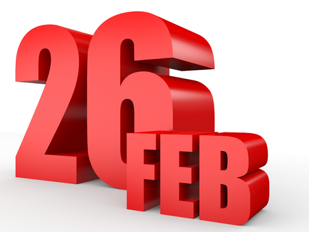 February 26. Text on white background. 3d illustration.