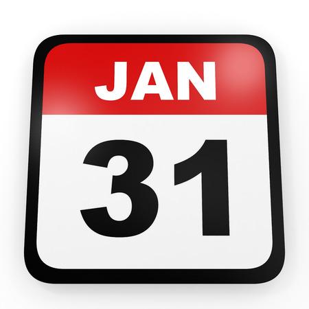 1 january: January 31. Calendar on white background. 3D illustration.