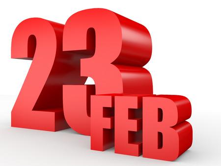 February 23. Text on white background. 3d illustration. Stock Photo