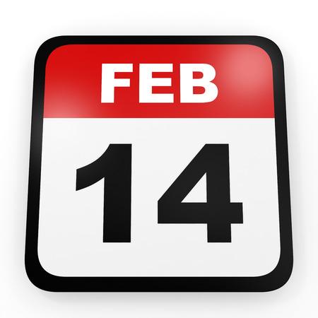 fourteenth: February 14. Calendar on white background. 3D illustration.