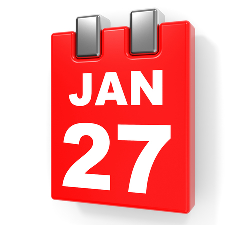 January 27. Calendar on white background. 3D illustration.