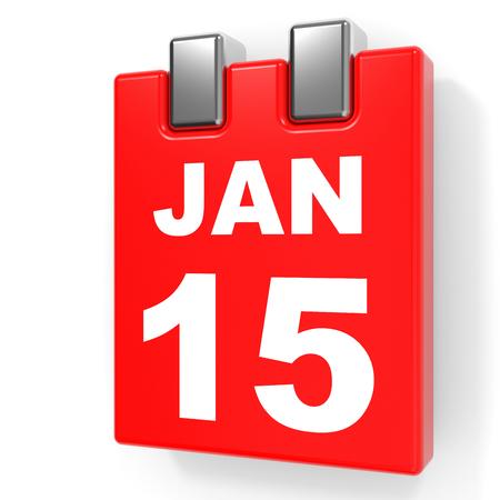 January 15. Calendar on white background. 3D illustration.