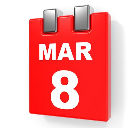 March 8. Calendar on white background. 3D illustration.