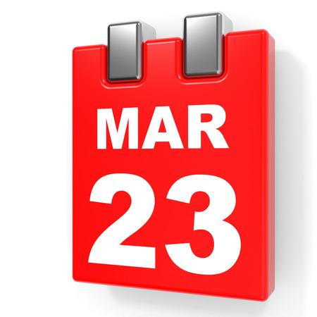 March 23. Calendar on white background. 3D illustration.