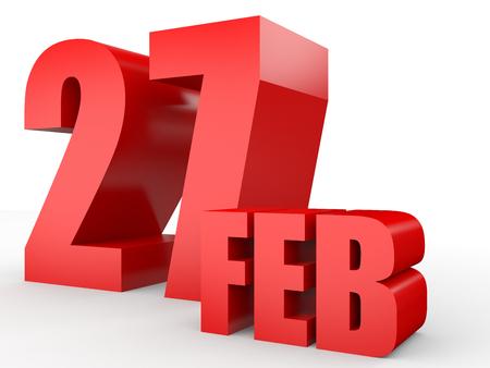 27: February 27. Text on white background. 3d illustration. Stock Photo
