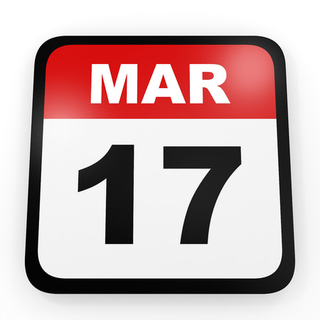 march 17: March 17. Calendar on white background. 3D illustration. Stock Photo