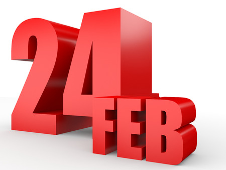 February 24. Text on white background. 3d illustration.