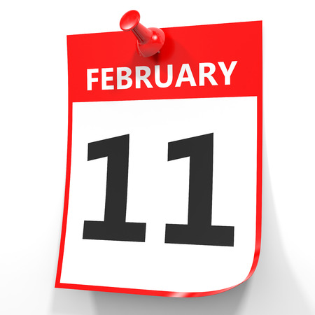 number eleven: February 11. Calendar on white background. 3D illustration. Stock Photo