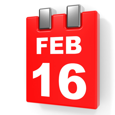 16: February 16. Calendar on white background. 3D illustration. Stock Photo