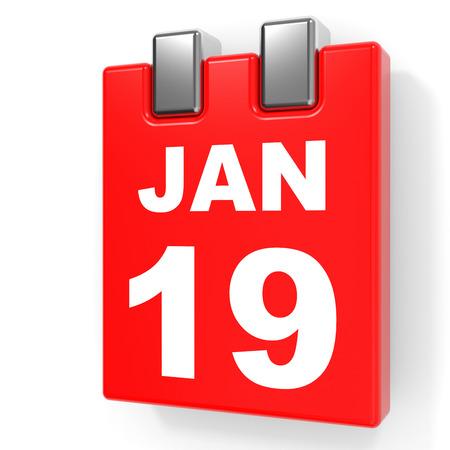19: January 19. Calendar on white background. 3D illustration.
