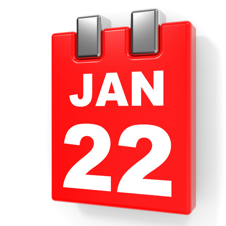 January 22. Calendar on white background. 3D illustration. Stock Photo