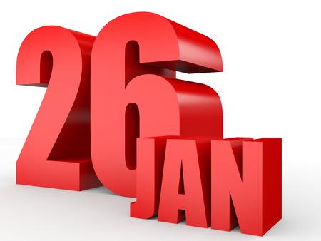 twenty sixth: January 26. Text on white background. 3d illustration.