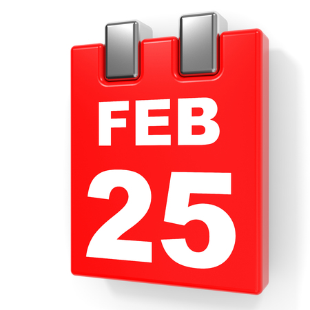 February 25. Calendar on white background. 3D illustration. Stock Photo