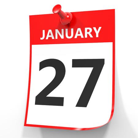 January 27. Calendar on white background. 3D illustration.