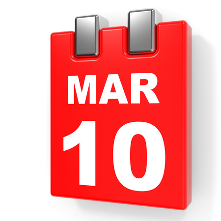10th: March 10. Calendar on white background. 3D illustration.