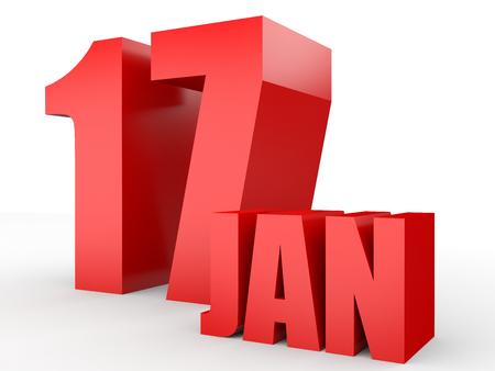 17: January 17. Text on white background. 3d illustration. Stock Photo