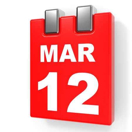 a 12: March 12. Calendar on white background. 3D illustration.