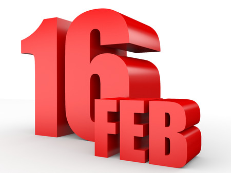 February 16. Text on white background. 3d illustration. Stock Photo