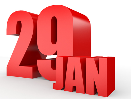 January 29. Text on white background. 3d illustration.
