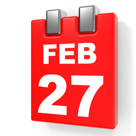 February 27. Calendar on white background. 3D illustration. Stock Photo