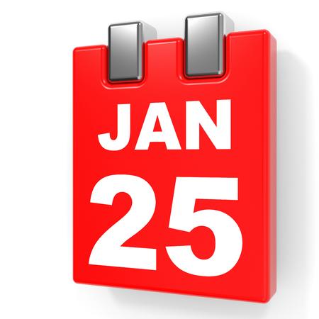 January 25. Calendar on white background. 3D illustration.