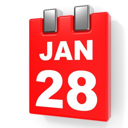 28: January 28. Calendar on white background. 3D illustration.