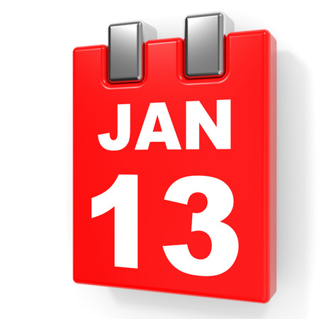 thirteen: January 13. Calendar on white background. 3D illustration. Stock Photo