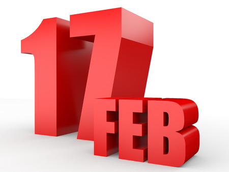 February 17. Text on white background. 3d illustration. Stock Photo
