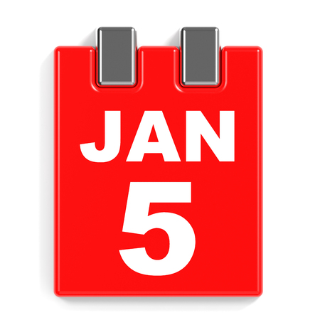 January 5. Calendar on white background. 3D illustration.