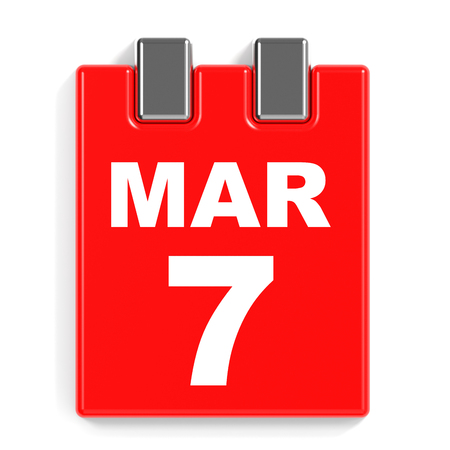 March 7. Calendar on white background. 3D illustration. Stock Photo