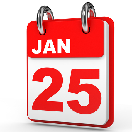 January 25. Calendar on white background. 3D illustration.