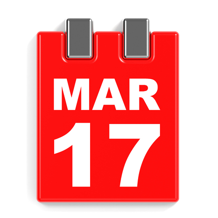 March 17. Calendar on white background. 3D illustration. Stock Photo