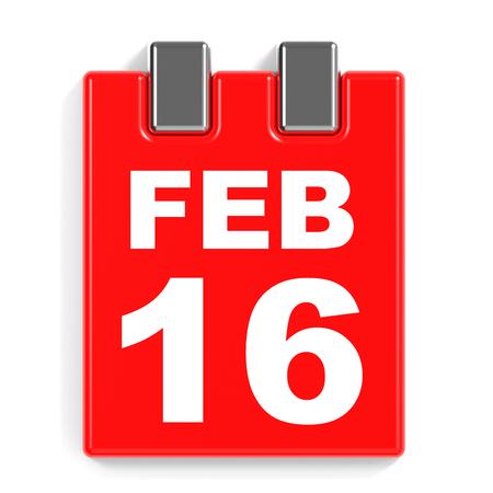 February 16. Calendar on white background. 3D illustration. Stock Photo