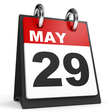 twenty ninth: May 29. Calendar on white background. 3D illustration.