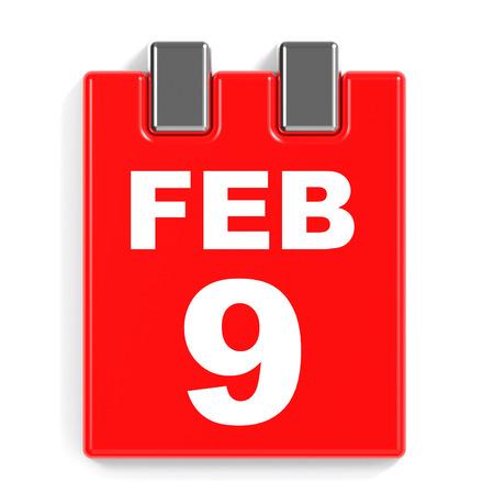 February 9. Calendar on white background. 3D illustration. Stock Photo