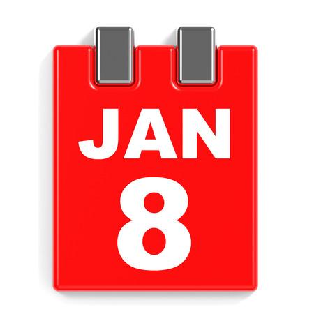 January 8. Calendar on white background. 3D illustration.