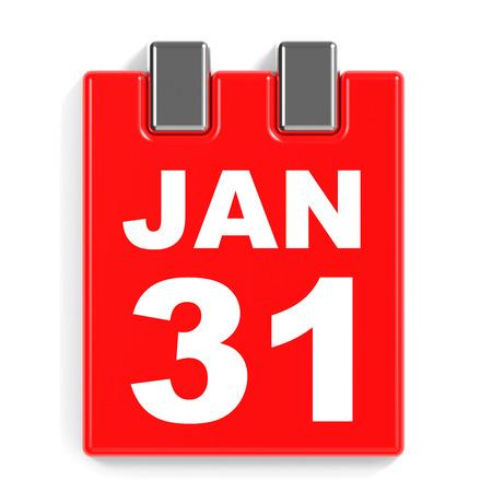 31st: January 31. Calendar on white background. 3D illustration.