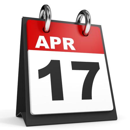 17: April 17. Calendar on white background. 3D illustration.