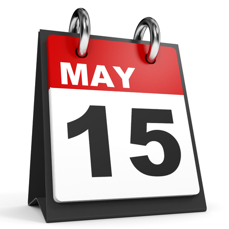 fifteenth: May 15. Calendar on white background. 3D illustration.