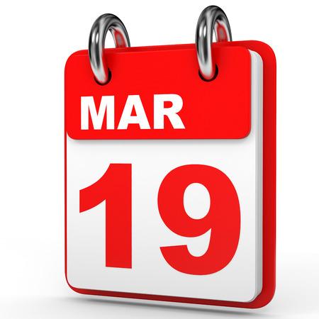 19: March 19. Calendar on white background. 3D illustration. Stock Photo