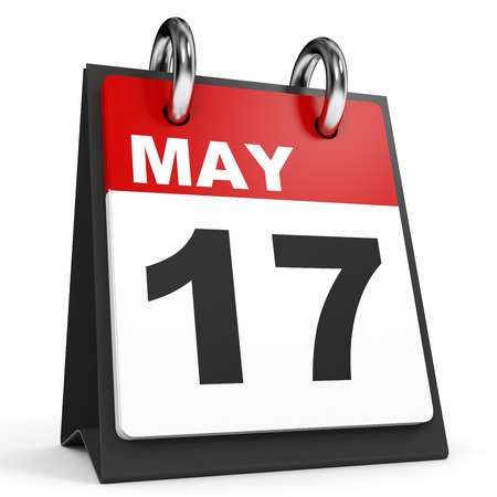 17th: May 17. Calendar on white background. 3D illustration.
