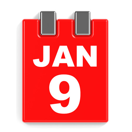 9th: January 9. Calendar on white background. 3D illustration.