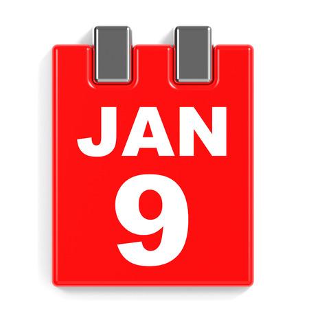 January 9. Calendar on white background. 3D illustration.